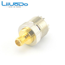 6 pcs/lot PL259 UHF Female Jack Nickelplated to SMA Jack Female Goldplated Connector Adapter Free Shipping
