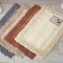 Simple Beige Living Room Mat Cotton Chenille Embroidered Flowers Anti-Slip Floor Mats 45x70cm Home Kitchen Door Tapete Pa.an