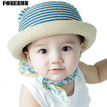 2016 New Arrival Baby Bucket Hats Casual Straw Kids Summer Hats Striped Sun Cap for Girls Cute Children's Cap
