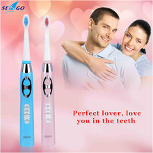 2pcs/lot waterproof Sonic Electric Toothbrush intelligent variable frequency whitening teeth lover tooth brushes 100-240V Q00