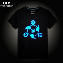 CIP 100% Cotton Luminous T Shirts Anime Shirt Girl Kids Baby Clothing Hip Hop Neon Print Party Club Night Light Punk Top Summer
