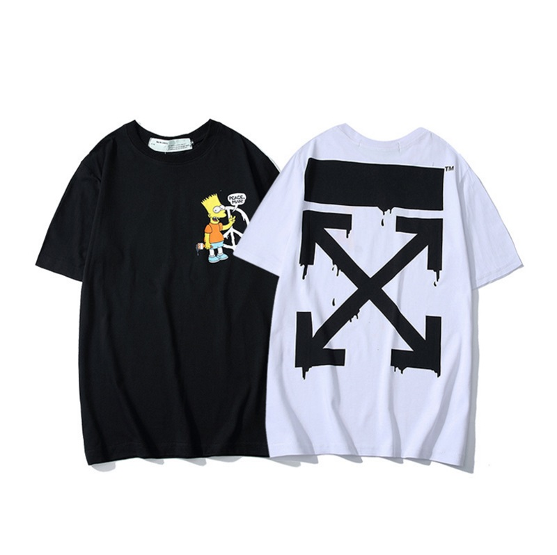 OFF-WHITE OW New hip hop printing Simpson short-sleeved couple Men cotton loose round neck T-shirt
