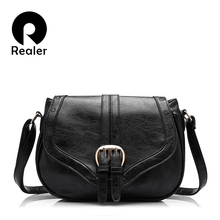 REALER hollow out women handbags fashion women saddle bag solid 8 colors optional bags high quality PU messenger bag