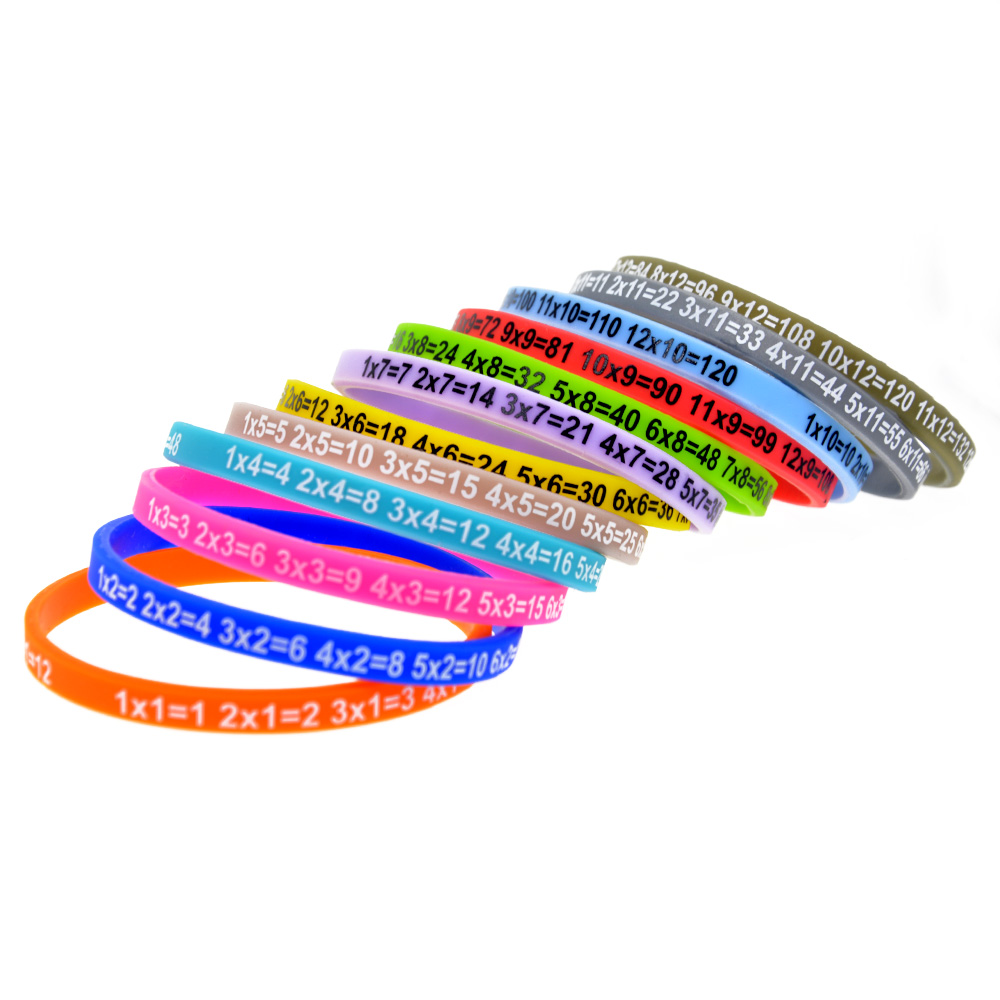 OneBandaHouse 120PCS/Lot Multiplication Tables Wristband Skinny Silicone Bracelet for Student