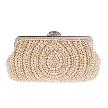 2017 Women's Evening Bag Craft Pearl Beads Clutch Bag Purse Wedding Bags With Shoulder Chain Day Clutches Smyxst-f0020