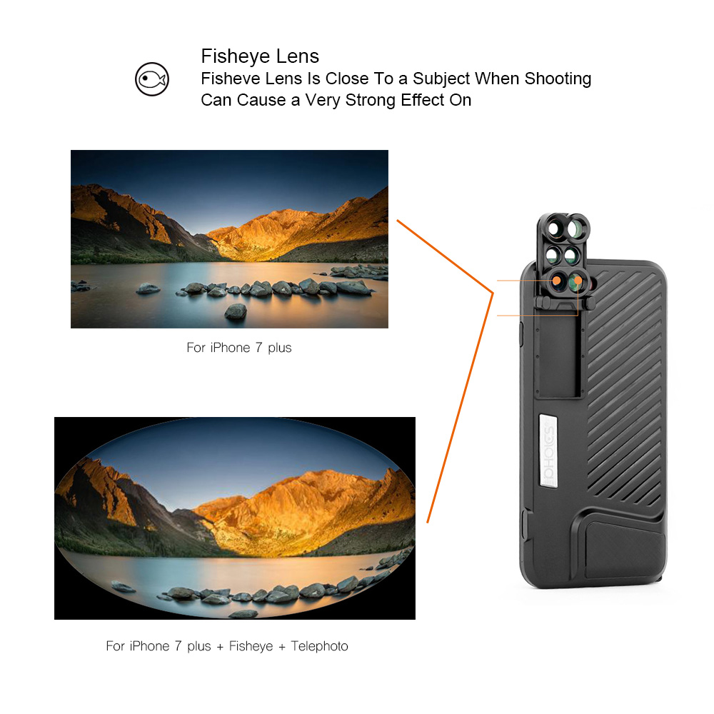 18 New Arrival Dual Camera Lens For iPhone X 8 Plus Fisheye Wide Angle Macro Lens For iPhone 7 Plus Phone Case Telescope Lens 5