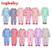 2017 Suitable For 18 Inch American Girl Doll Clothing Pajamas Suit Doll Pajamas Children Diy Small Toy Accessories ingbaby WJ928
