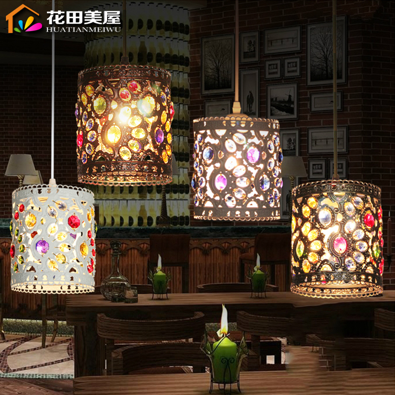 Mediterranean Style Hollow Out Colorful Crystal Droplight Bedroom Decoration Lighting<br>