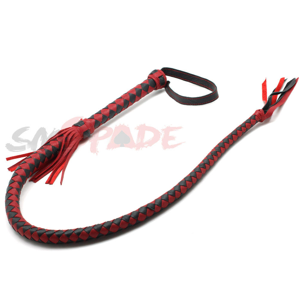 6% off   leather bull whip Black and Red geninue leather Fantasy Bull Whip handmade flirting fun kindredship leather whip<br>