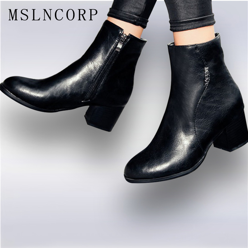 Size 34-45 Fashion Autumn Winter Zipper Women boots High heels Ladies Sapatos Martin Leather boots Square heel Snow Boots Shoes<br>