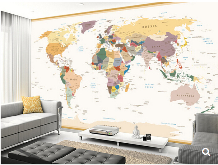 Custom kids wallpaper,Political World Map Vintage Colours,3D cartoon murals for childrens rooms living room vinyl wallpaper <br><br>Aliexpress