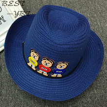 spring and summer new three Winnie the Korean version of cowboy jazz hat large brimmed hat sun hat baby hat