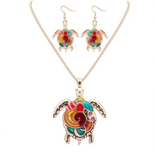 Fashion Marine life Jewelry Sets Tortoise Turtle Pendant Necklace Drop Earrings Gold Silver Colorful Resin Charm Gift For Women