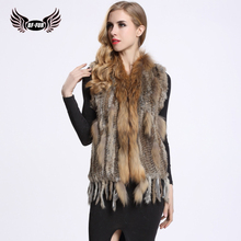 BF FUR Knitted Rabbit Fur Vest Women Tassel Real Raccoon Fur Collar Spring Natural Ladies Fashion Knitted Fur Vests BF-V0001