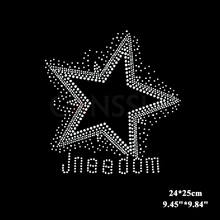 10pcs/lot Five-pointed star with logo design hotfix rhinestone heat transfer design iron on DIY motif rhinestones(ss-2382)(China)