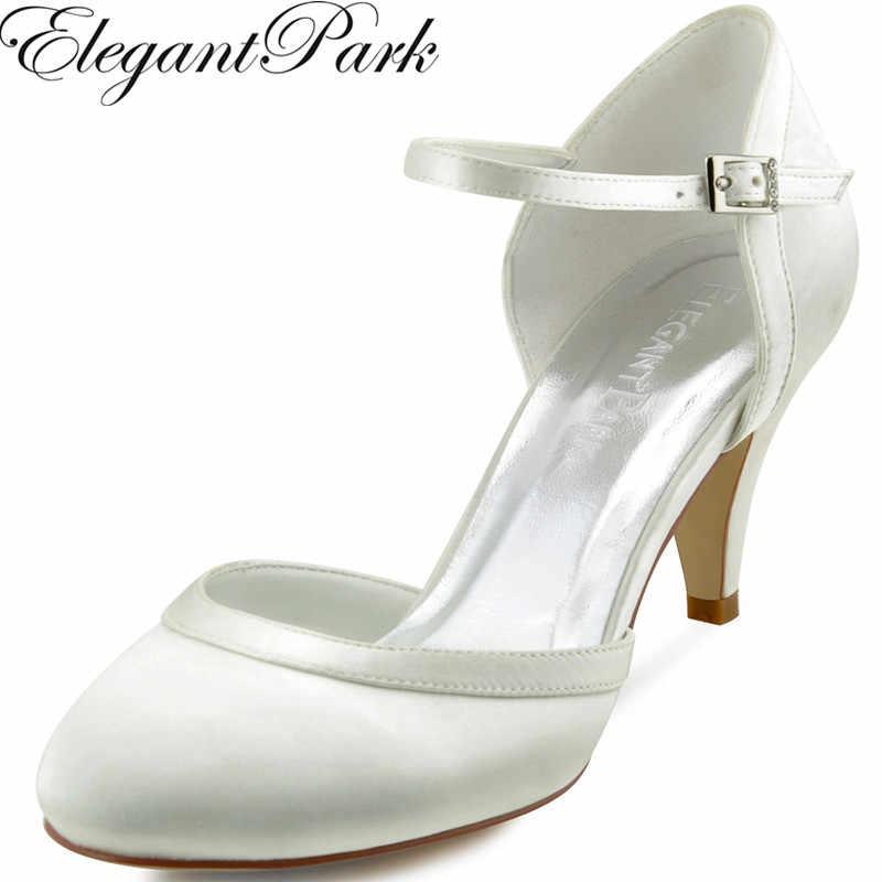 Women White Ivory Mid Heel Wedding Shoes Bride Comfort Closed Toe Buckle  Satin Ladies Bridesmaids Bridal faa65c6209f6