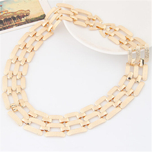 2016 Hot Fashion women wide choker necklace zinc alloy gold/silver plated ladies chain necklaces trendy jewelry collier femme(China)