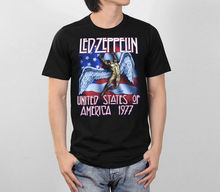 LED ZEPPELIN UNITED STATES OF AMERICA 1977 ROCK BAND RETRO VTG MEN T-SHIRT S-2XL Male Pre-Cotton Clothing 100% Cotton T Shirt