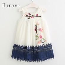 Hurave New Girl dress girls lace clothing Embroidery Children summer Clothes floral Infant fashion spring Vestidos