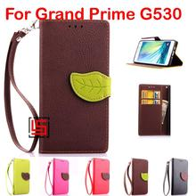 Cheap Leaf Clasp PU Leather Lether Flip Wallet Phone Cell Case kryty Cover Cove For Samsung Sumsang Galaxy Grand Prime G530