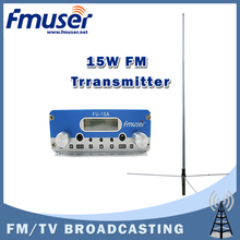 Free shipping FMUSER FU-15A 15W PLL FM stereo transmitter broadcaster+1/2 wave GP antenna+Power supply