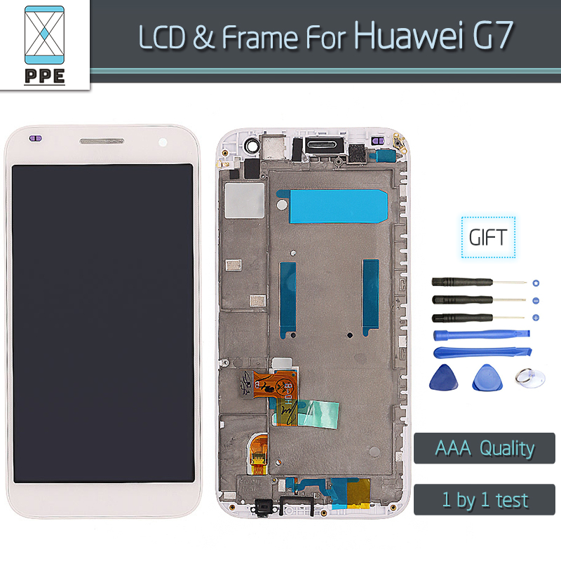 100% Tested LCD touch assembly for Huawei G7 LCD display touch screen digitizer with frame Replacement Free shipping+Tools<br><br>Aliexpress