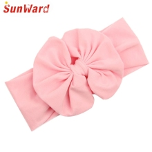 SunWard Newly Design 2015 Big Bowknot Little Girls Cotton Headband Children Kids Head Wraps Accessories Drop Shipping