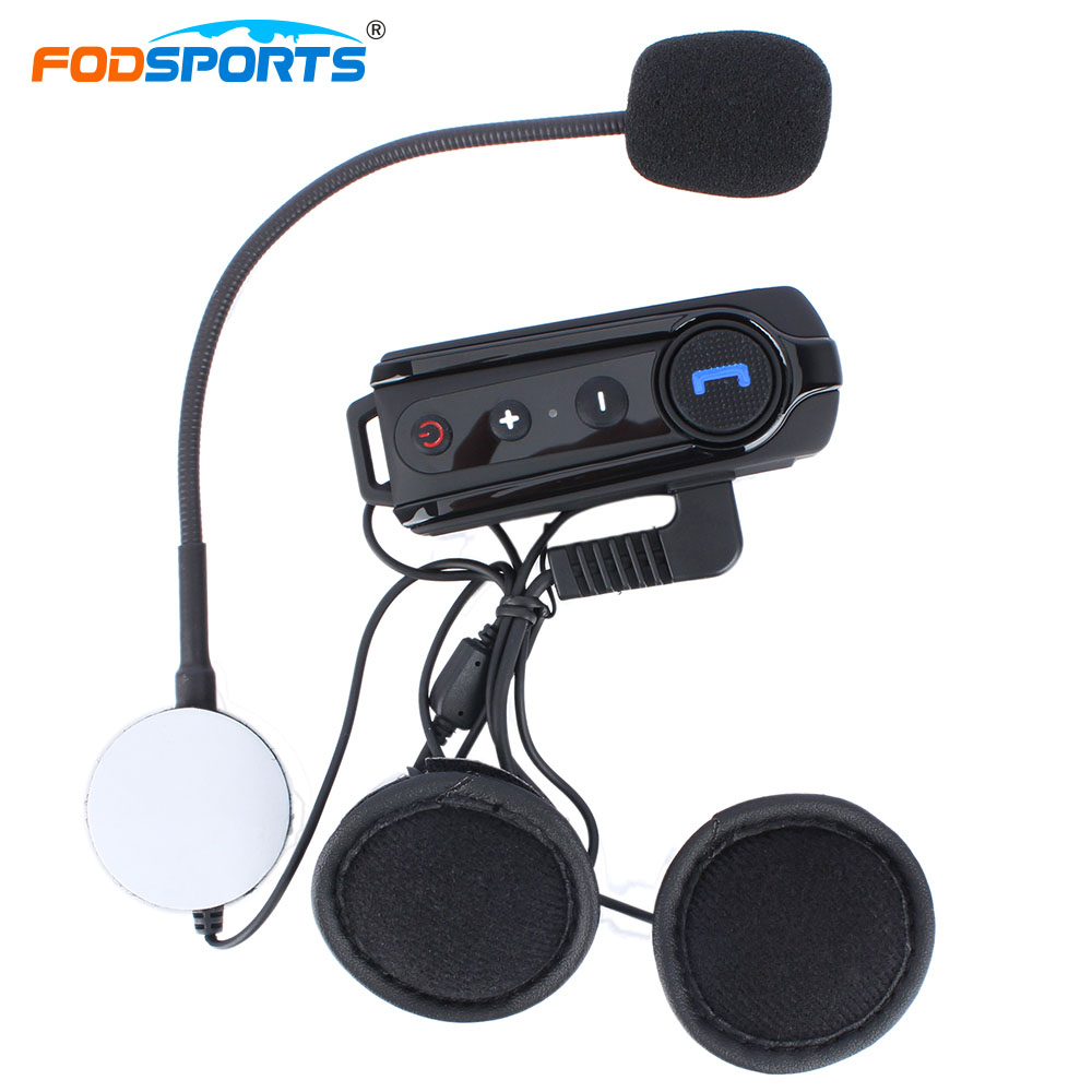Fodsports BT-S1 Intercom Helmet Headsets Bluetooth Interphone Motorcycle Intercomunicador Stereo Music With FM Radio<br>