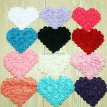 180 pcs/lot , 4.75''  shabby  chiffon rose heart  ,headbands shabby chiffon flowers