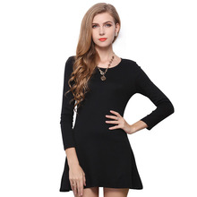 New fashion 2016 classic women dress solid color round collar waist long sleeve mini women clothing