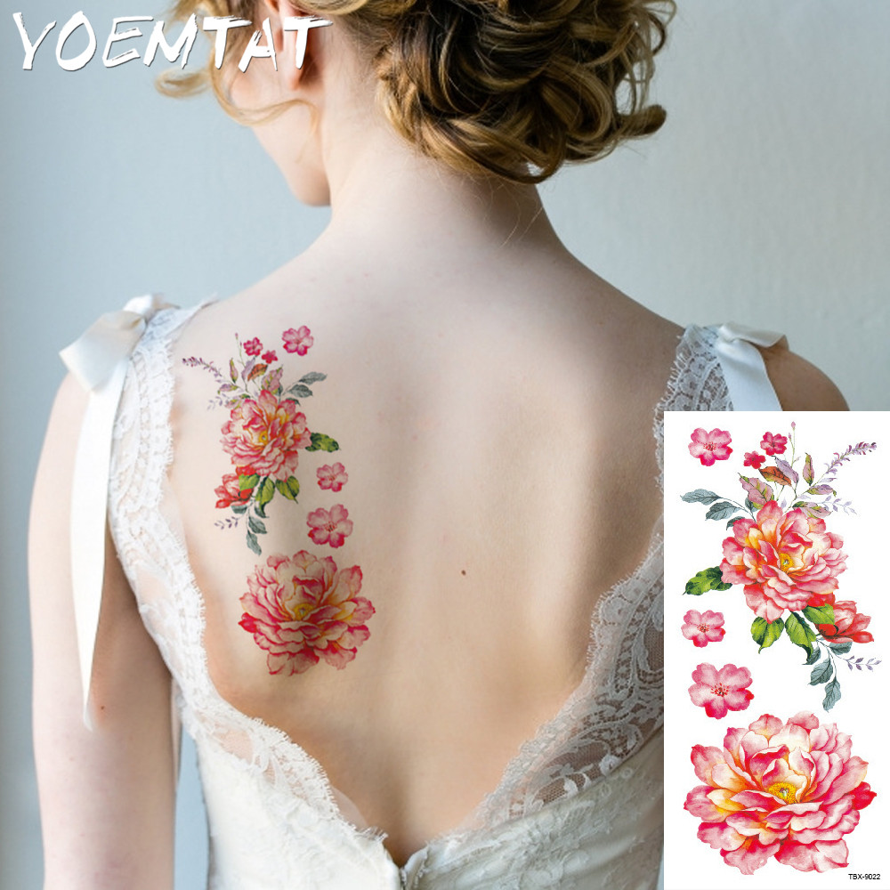 25 style flower arm shoulder tattoo stickers flash henna tattoo fake waterproof temporary tattoos sticker women 26