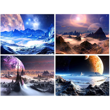 Fantastic Outer Space Modern Abstract Artwork 4 piece Giclee Canvas Prints  Purple Paintings on Canvas Wall Art for Home Decor