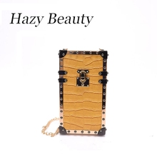 Hazy beauty New crocodile women phone box bag super chic lady cross body chain bag small phone purse show hot design bag DH547