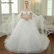 Buy Real Photos Sexy A-Line Lace Wedding Dress 2017 Cathedral Train Robe De Mariage Boat Neck Vestido De Noiva Lace-Up Bride Dresse for $286.00 in AliExpress store