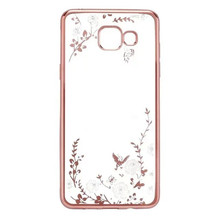 Diamond Fashion TPU Flower Design Soft Back Phone Cover Silicone Case For Samsung Galaxy A5 2016 A510 A100 A510F(China)