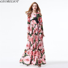 Runway Vintage Floral Long Maxi Dress 2017 New Summer Women High Quality Ball Gown Holiday Beach Party Dresses Vestidos Mujer