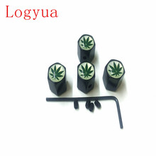 4PCS/lot  Anti-theft Style Green Maple Leaf Logo Car Badge Wheel Tire Valve Cap Tyre Dust Caps For Car