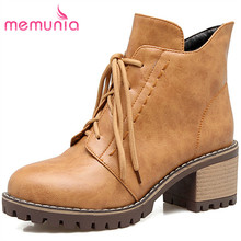 MEMUNIA 2018 새 ankle boots 플랫폼 boots 여름과 겨울 우아한 lace 업 boots round toe women boots big size 34 -43(China)