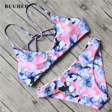 Buy RUUHEE Sexy Bikini 2017 Printed Bikini Set Push Swimsuit Women Halter Bandage Swimwear Swimming Suit Bathing Suit Pad