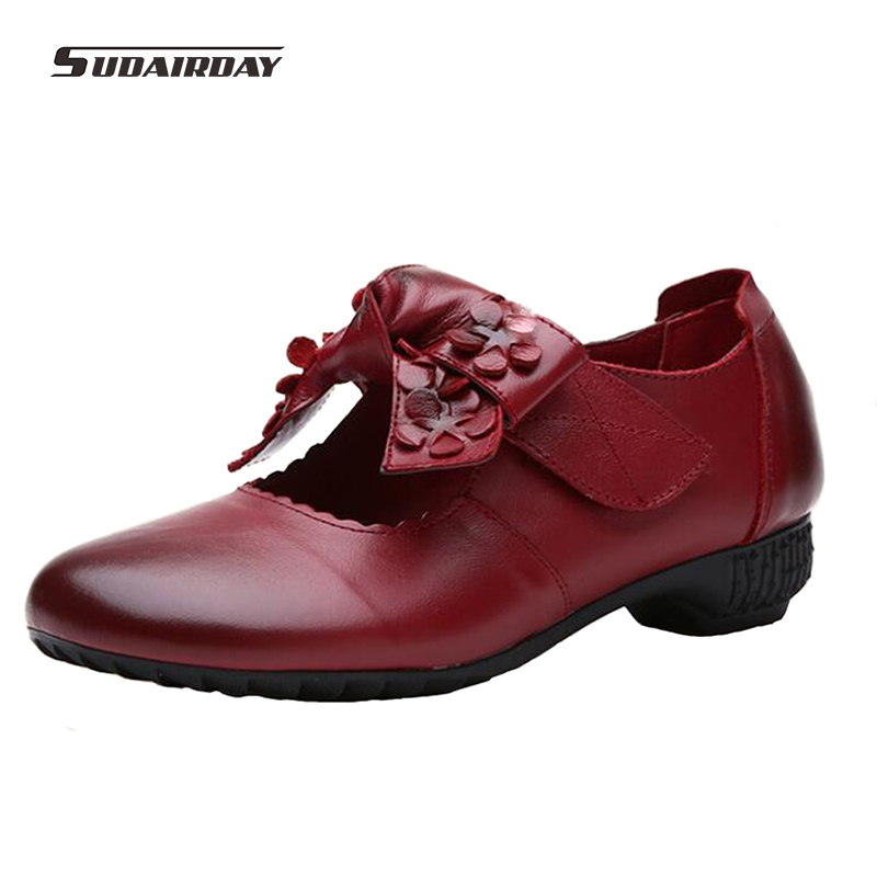 2017 New Womens Mary Janes Flats Flat Shoes Woman Vintage Handmade Shoes Genuine Leather Soft Outsole Shoes Women Flats<br><br>Aliexpress