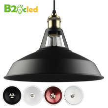 2017 Industrial retro style Art LED Pendant light black white Edison light bulb pendant lamp Hanging Light luminaries lampshade