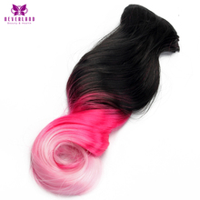 Neverland Beauty & Health Wave Style 16 Clips 20inch Synthetic Hairpieces Pink Rainbow Color Clip-in Full Head Hair Extensions