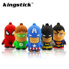 Cute Super heros model Memory pendrive 32GB USB Flash Drive 64GB 128GB Pen Driver 8GB 16GB Flash usb Stick disk free shipping(China)