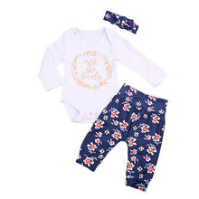 3pcs Suit !! Newborn Baby Girls Lovely Cotton Long Sleeve Tops  +Floral Pants +Hairband Going Home Outfits Set