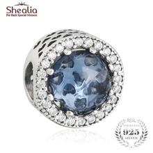 Fits Pandora Bracelets Diy Moonlight Blue Crystal Charms Beads Sterling Silver 925 Original  Radiant Heart Beads Shealia Jewelry