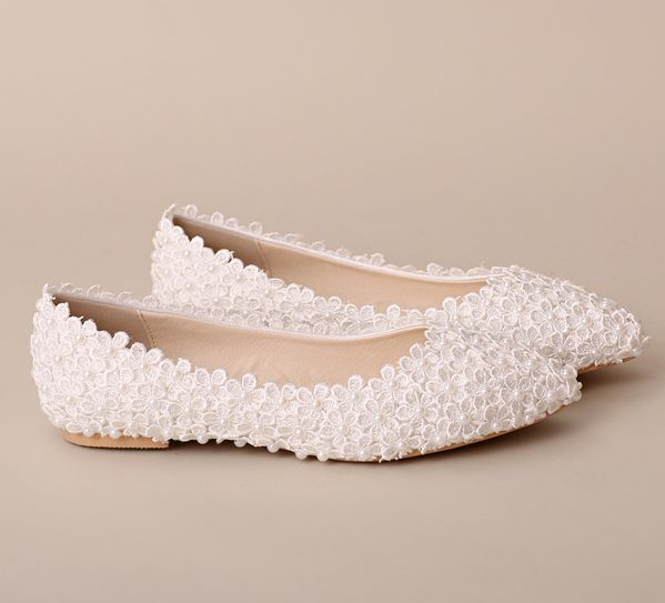 Extra large plus sizes lace flats wedding shoes woman ladies white lace pearls bridal flat shoes sexy point toes bridal flats<br>