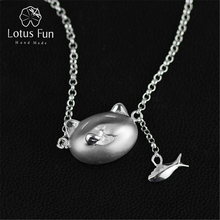 Lotus Fun Real 925 Sterling Silver Handmade Designer Fine Jewelry Greedy Cat and Fish Necklace with Pendant for Women Collier(China)