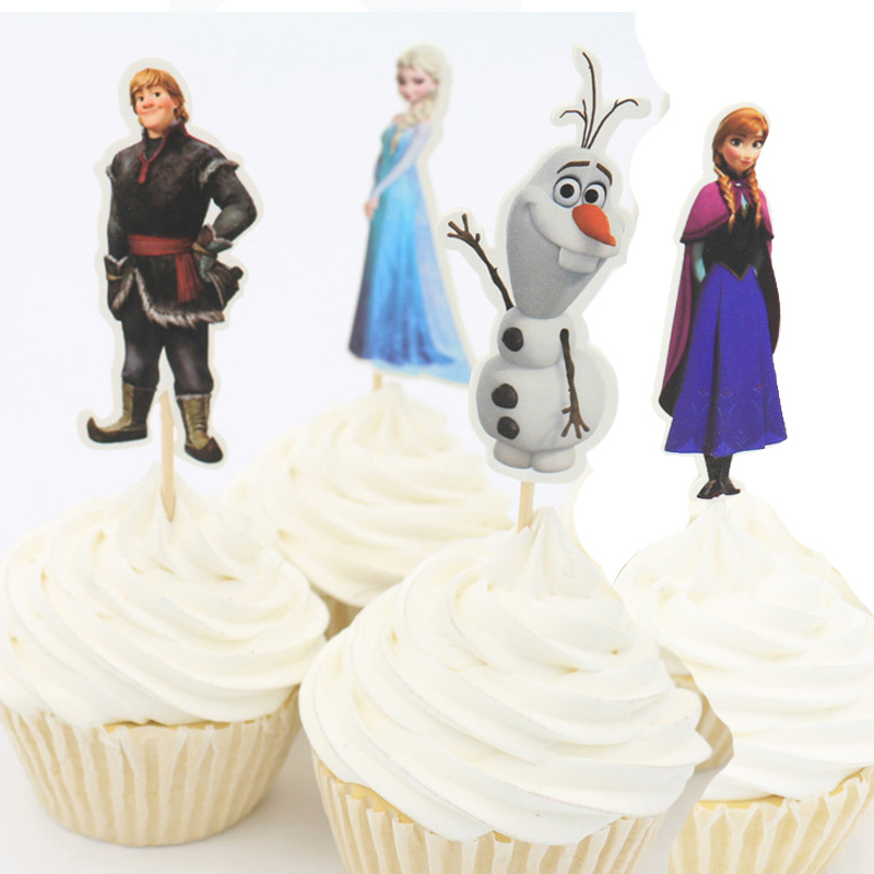 24pcs Frozen Elsa Anna Princess Cupcake Toppers Kids Birthday Party Decorations