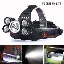 Headlight 12000 Lumen headlamp 5 Chip XM-L T6 /Q5 LED Head Lamp Flashlight Torch Lanterna Headlamp for batteries and charger(China)