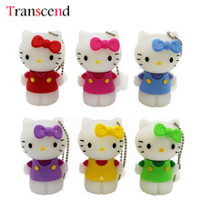 Transcend cute hello kitty USB Flash Drive 8GB 16GB 32GB 64GB 4GB Pendrive USB 2.0 U disk(China)